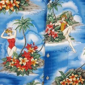Pierre Cardin Shirts - Men's Pierre Cardin pin-up girl Hawaiian Shirt